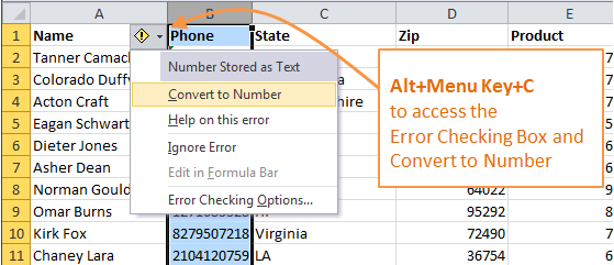 Excel Convert Text to Number Keyboard Shortcut Alt+Menu Key+C