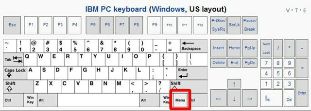 keyboard diagram menu key windows
