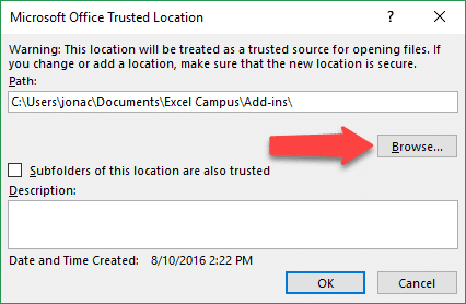 Add Trusted Location Folder