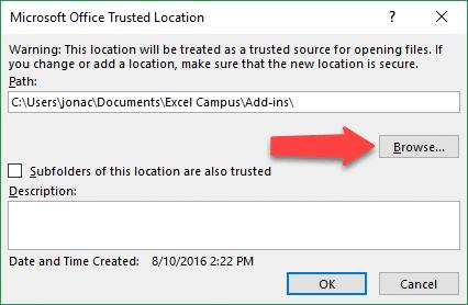 Add Trusted Location Folder