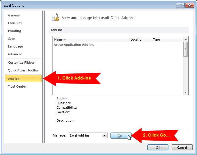 Excel Options Add-Ins Menu