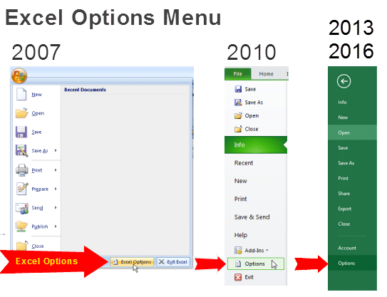 Excel Options Menus 2007 2010 2013 2016