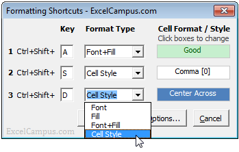 Excel Font Fill Color Keyboard Formatting Shortcuts