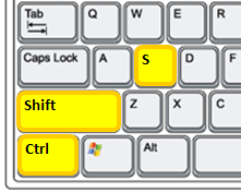 Keyboard Shortcut Diagram Ctrl+Shift+S Yellow Fill