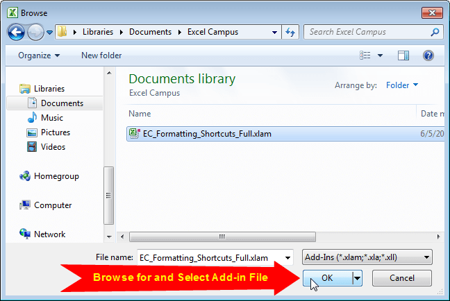 Select Excel Add-in File