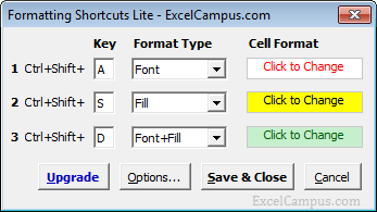 Formatting Shortcuts Lite Excel Userform