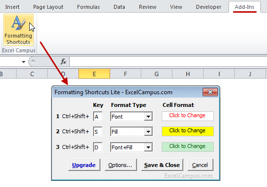 Formatting Shortcuts Lite Ribbon Button Userform