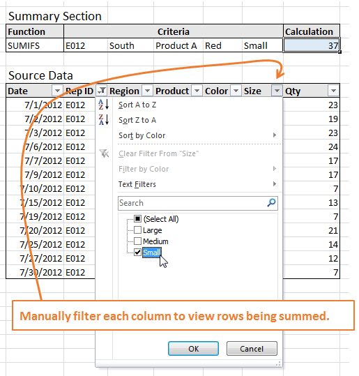 Manual Filter Sumifs Formulas