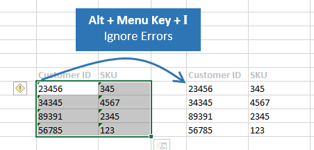 Keyboard Shortcut to Ignore Errors Excel