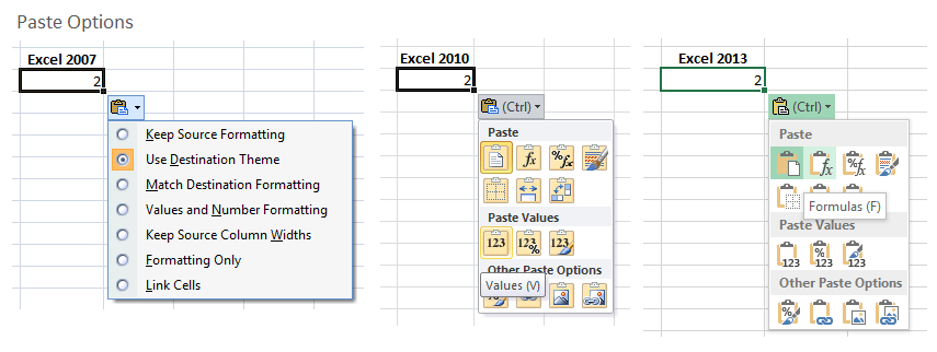 Paste Options Pop-up Comparison Excel 2007 2010 2013