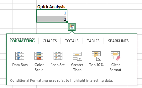 Quick Analysis Menu Excel 2013