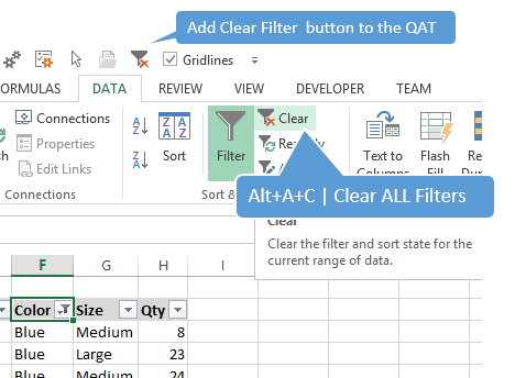 Alt+A+C Clear All Filters Excel
