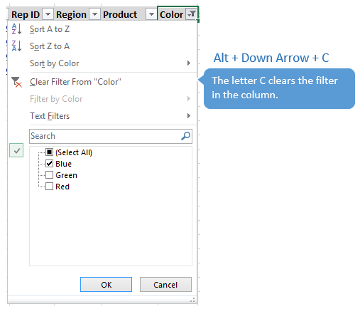 Alt+Down Arrow+C Clear Filter in Drop Down Menu Excel