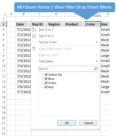 Alt+Down Arrow Excel Display Filter Drop Down Menu