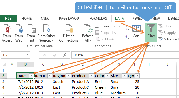 Ctrl+Shift+L Excel Turn Filters On Off