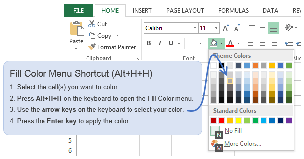 Excel Fill Color Keyboard Shortcut Alt+H+H