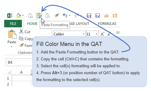 Excel Fill Color Keyboard Shortcut Paste Formatting QAT
