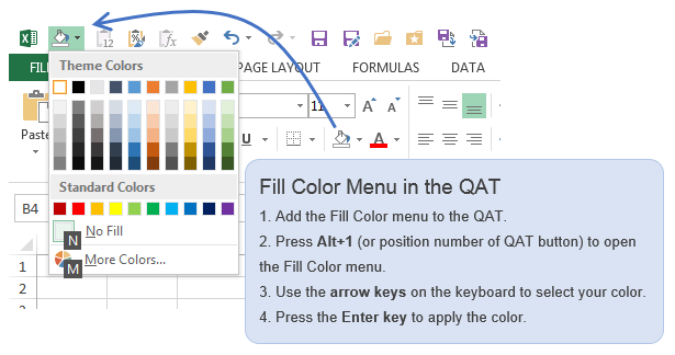 Excel Fill Color Keyboard Shortcut Quick Access Toolbar QAT