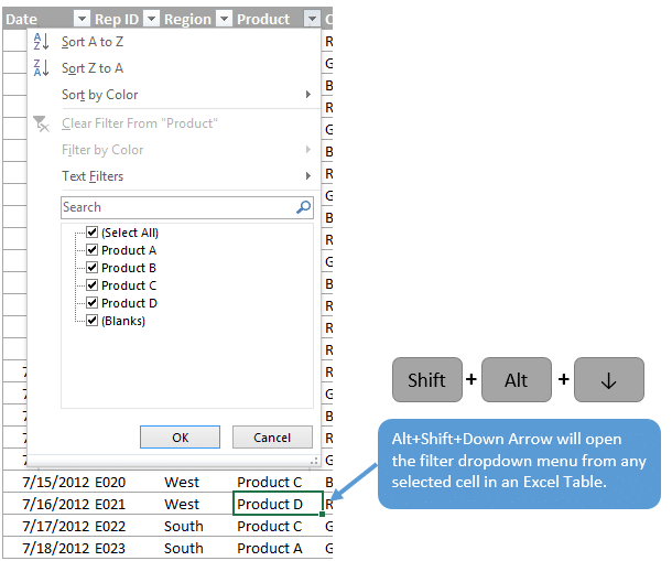 Open Filter Drop-down Menu from Table Cell -Shift-Alt-Down Arrow