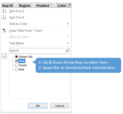 Space Bar Select Items in Filter Drop Down Menu Excel