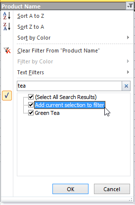 Excel Add Current Selection to Filter Drop Down Menu