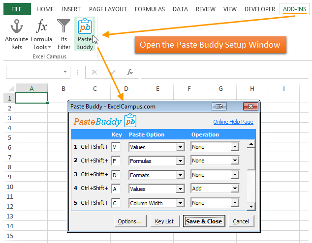Paste Buddy Open Setup Window - Excel