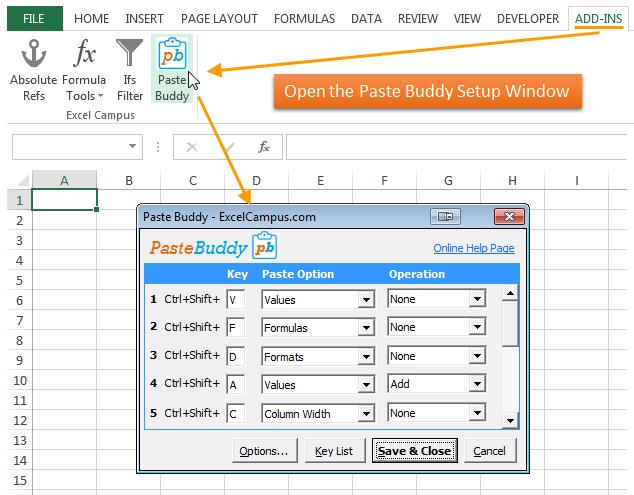 Paste Buddy Open Setup Window - Excel