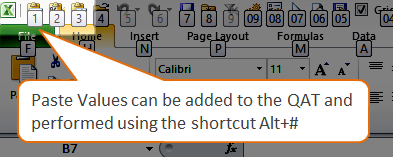 Paste Values Quick Access Toolbar QAT Excel