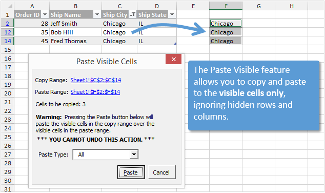 Paste to the Visible Cells Only in Excel with Paste Buddy