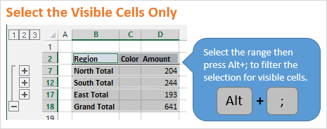 Select Visible Cells Only in Excel