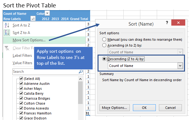 Sort Pivot Table Name Comparison