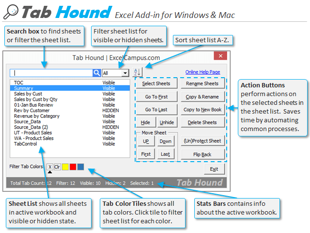 Tab Hound Window Features Diagram