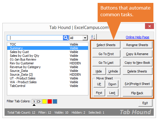 Tab Hound Window v1 - Buttons Automate Common Tasks