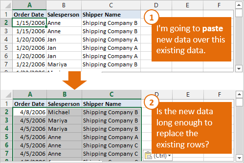 Paste Data Over Existing Data