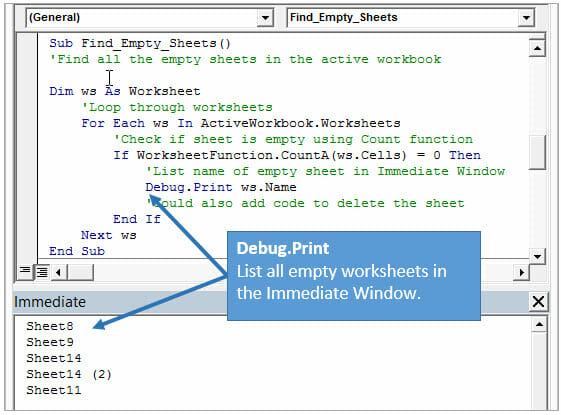 5 Ways To Use The Vba Immediate Window Excel Cus. Excel Vba Immediate Window Debug Print List All Empty Sheets Exle. Worksheet. What Is Active Worksheet In Excel At Mspartners.co
