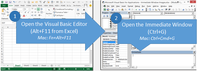 Open Visual Basic Editor and Immediate Window Excel Mac