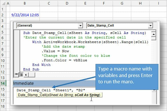Run VBA Macro from Immediate Window with Arguments Excel