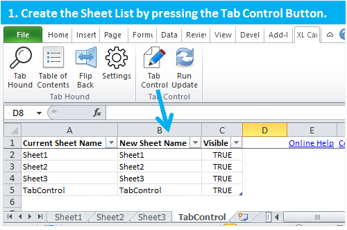 Tab Control Step 1 Create Sheet List Excel Automation