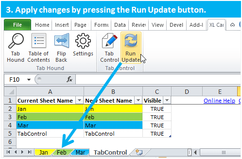 Tab Control Step 3 Run Update Excel Automation