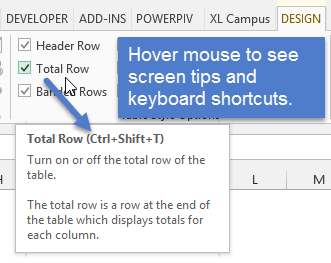 Total Row Keyboard Shortcut Excel Hover Screen Tip