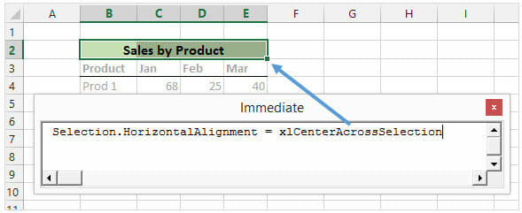 VBA Immediate Window Execute Line of Code in Excel