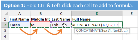 Create Concatenate Formula with Ctrl+Left-click Excel