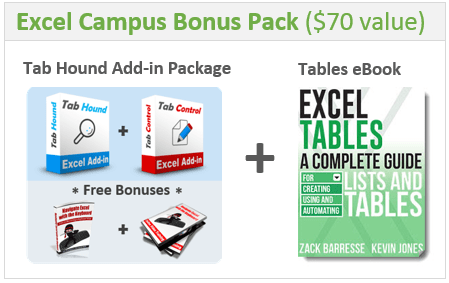 Excel Campus Bonus Pack Tab Hound Add-in - Excel Tables Book