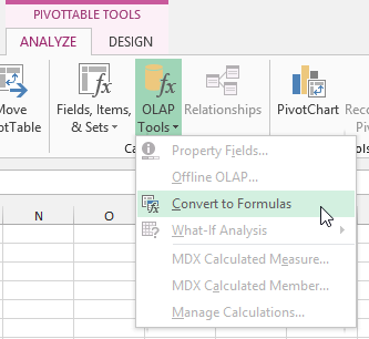 PowerPivot Convert Pivot Table to CUBE Formulas OLAP