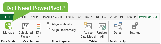 PowerPivot Ribbon Toolbar Excel 2013