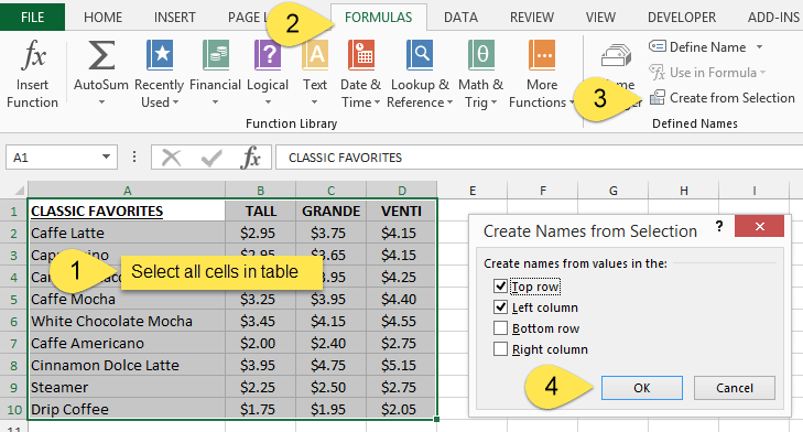 Create Named Ranges from Selection