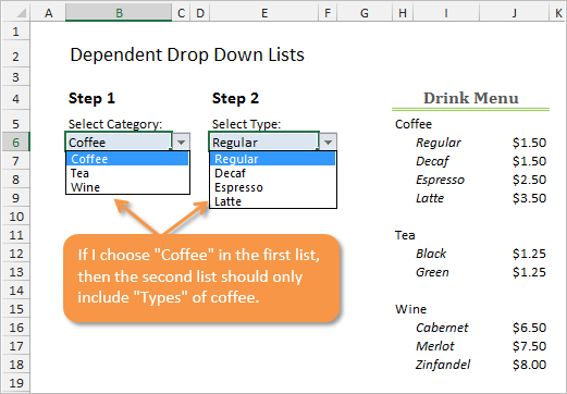 Dependent Drop-down Lists Example in Excel