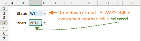 Excel Drop-down List Always Visible When Another Cell Selected