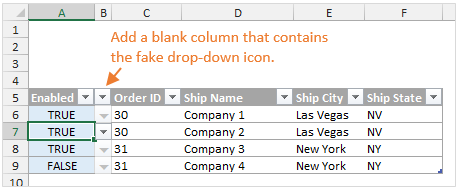 Excel Drop-down List Fake Arrow Icon in a Table