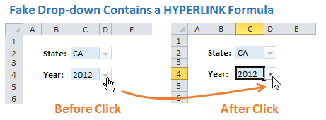 Fake Drop-down Hyperlink Formula Before and After